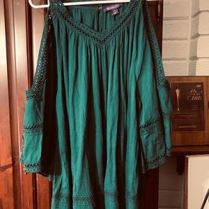 Cold shoulder Forest Green Tunic
